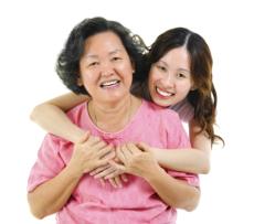 Hugging elder female